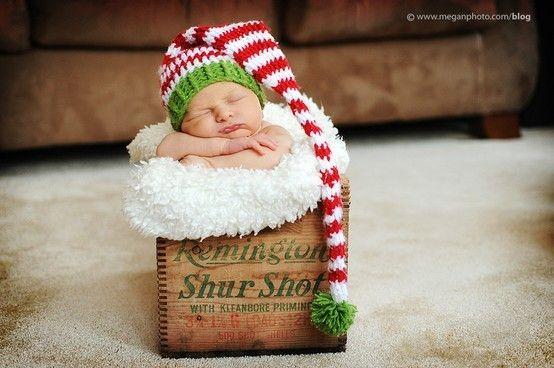 christmas baby photography #baby #christmas #hat sesión recién
