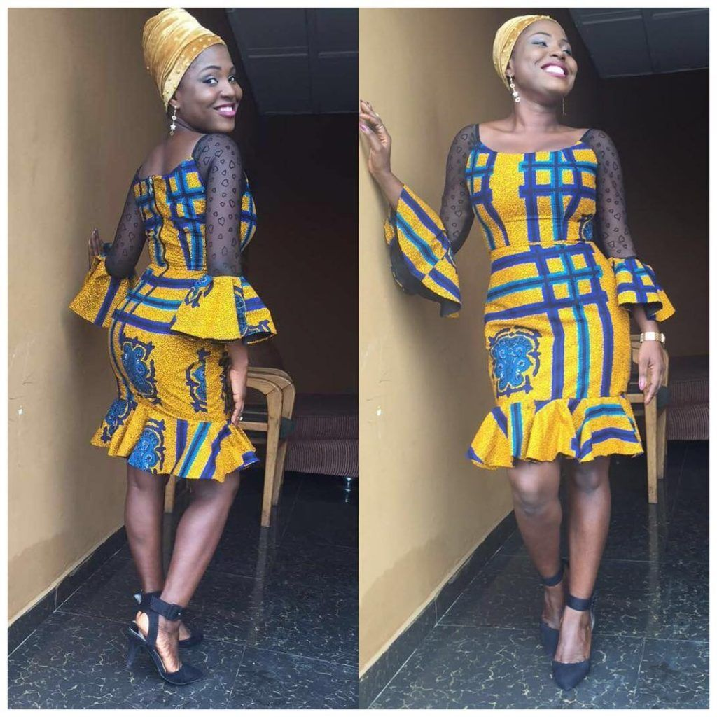 Simple Ankara Gown Styles Mix With Lace Materials Dresses