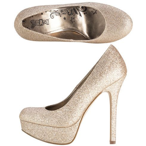 e323acf4fa7 Gold glitter platform heels. Brash from Payless.