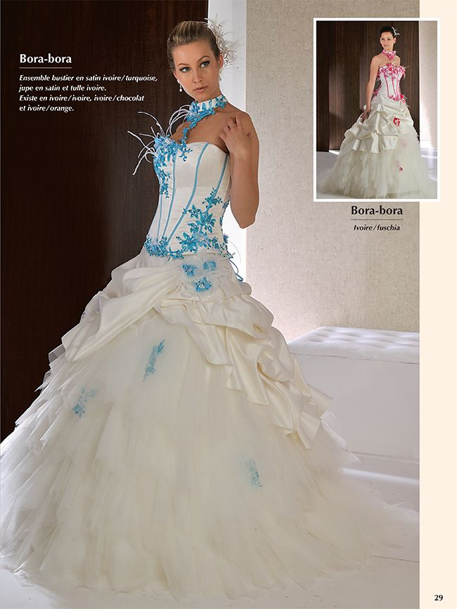 Robe de mariee blanche turquoise