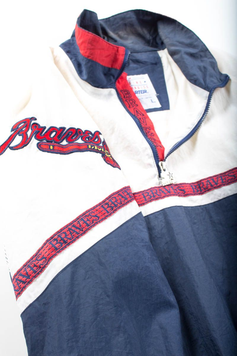 Vintage 80s Atlanta Braves Jacket Starter Satin Diamond Collection Mlb Mens L The Clothing Vault Vintage Sports Clothing Braves Game Outfit Gaming Clothes