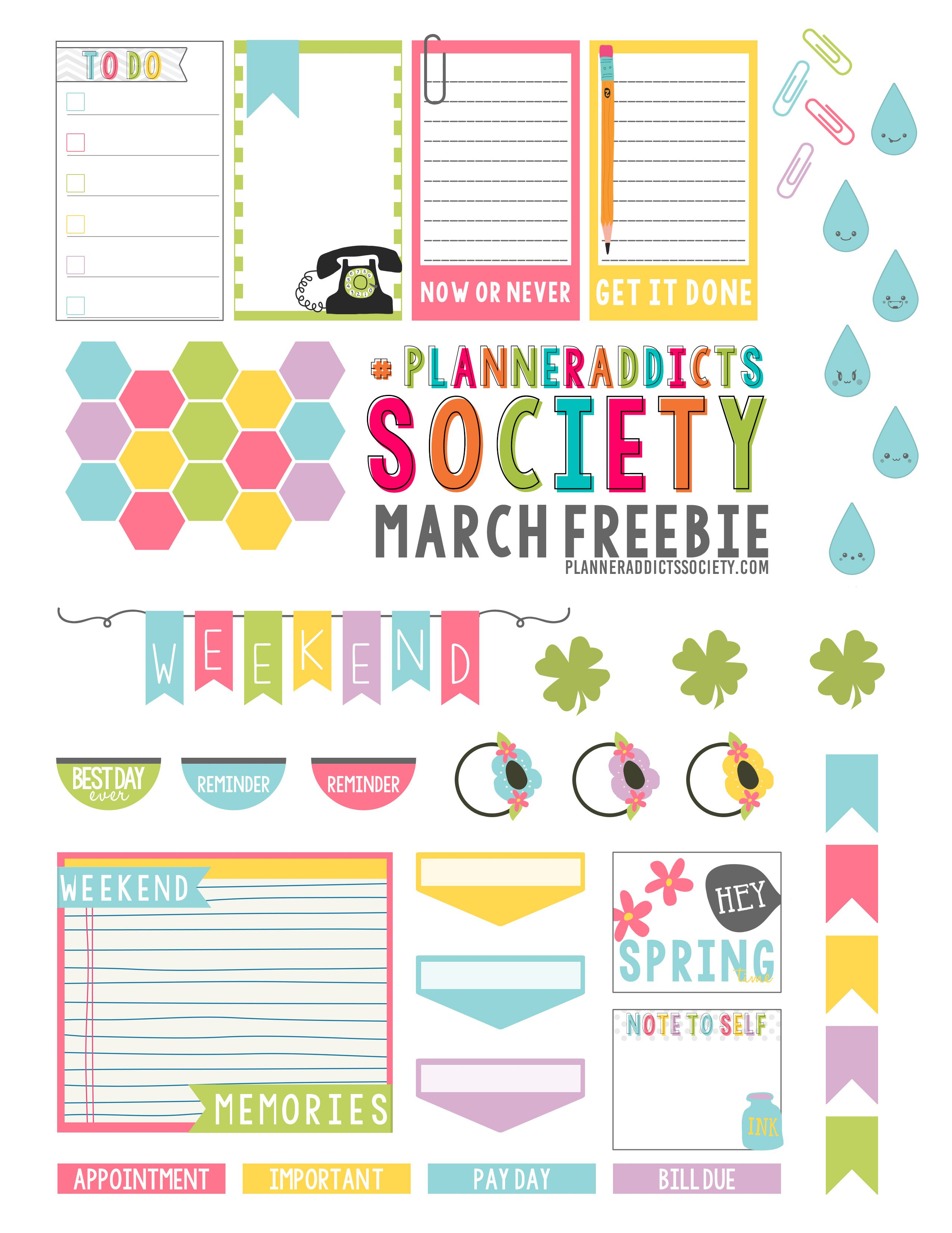 pastel student academic planner stickers free printable download free printable march planner stickers from fit life creative