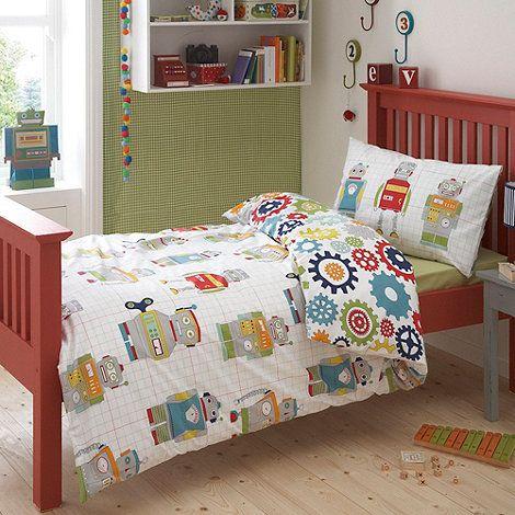 Ben de Lisi Boy's white 'Robots' single bedding set- at ...