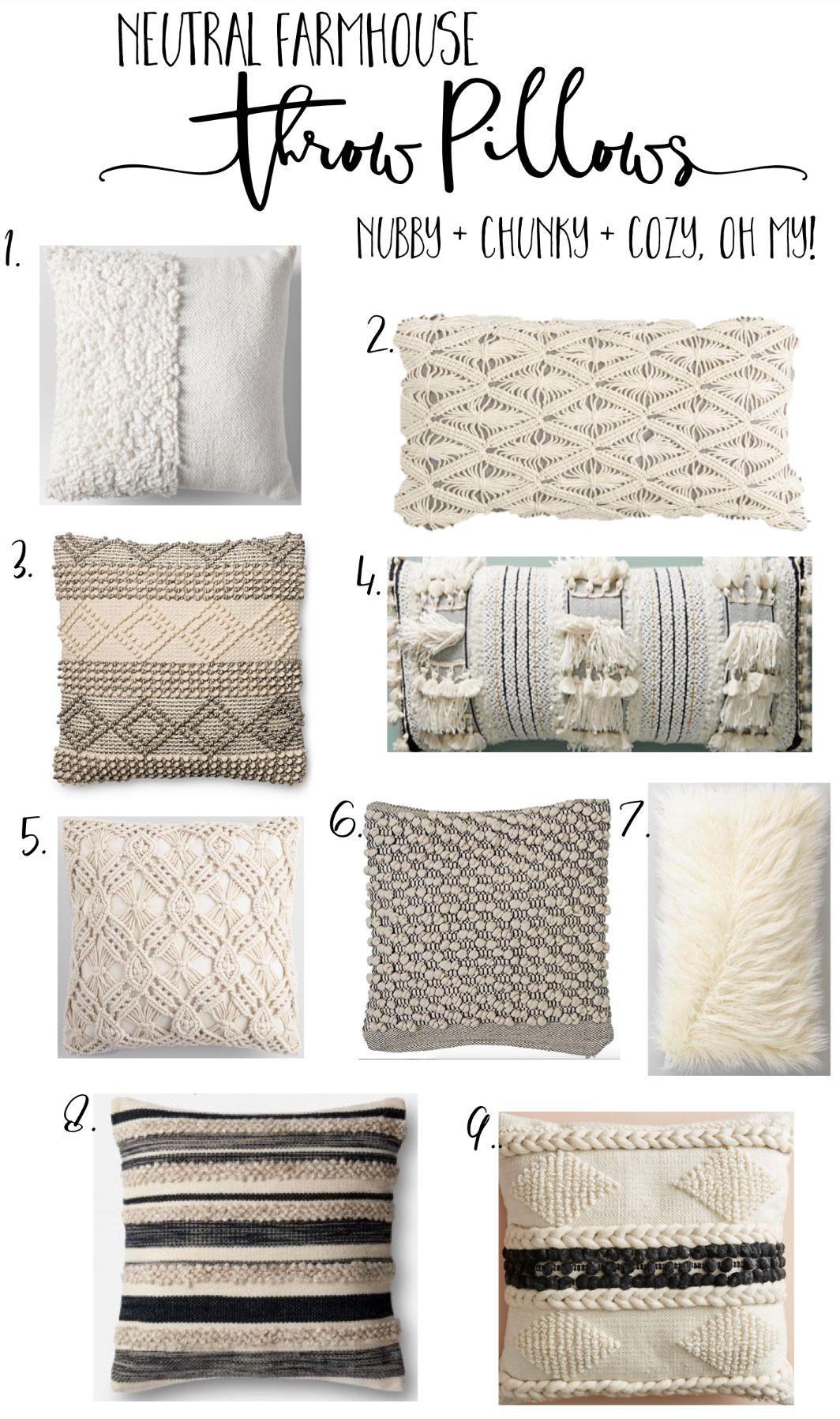 Cozy nubby chunky farmhouse pillows in all budgets