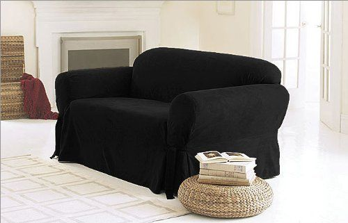 Chezmoi Collection Soft Micro Suede Solid Black Couch Sofa Cover Slipcover W Elastic Band Under Seat Cushion