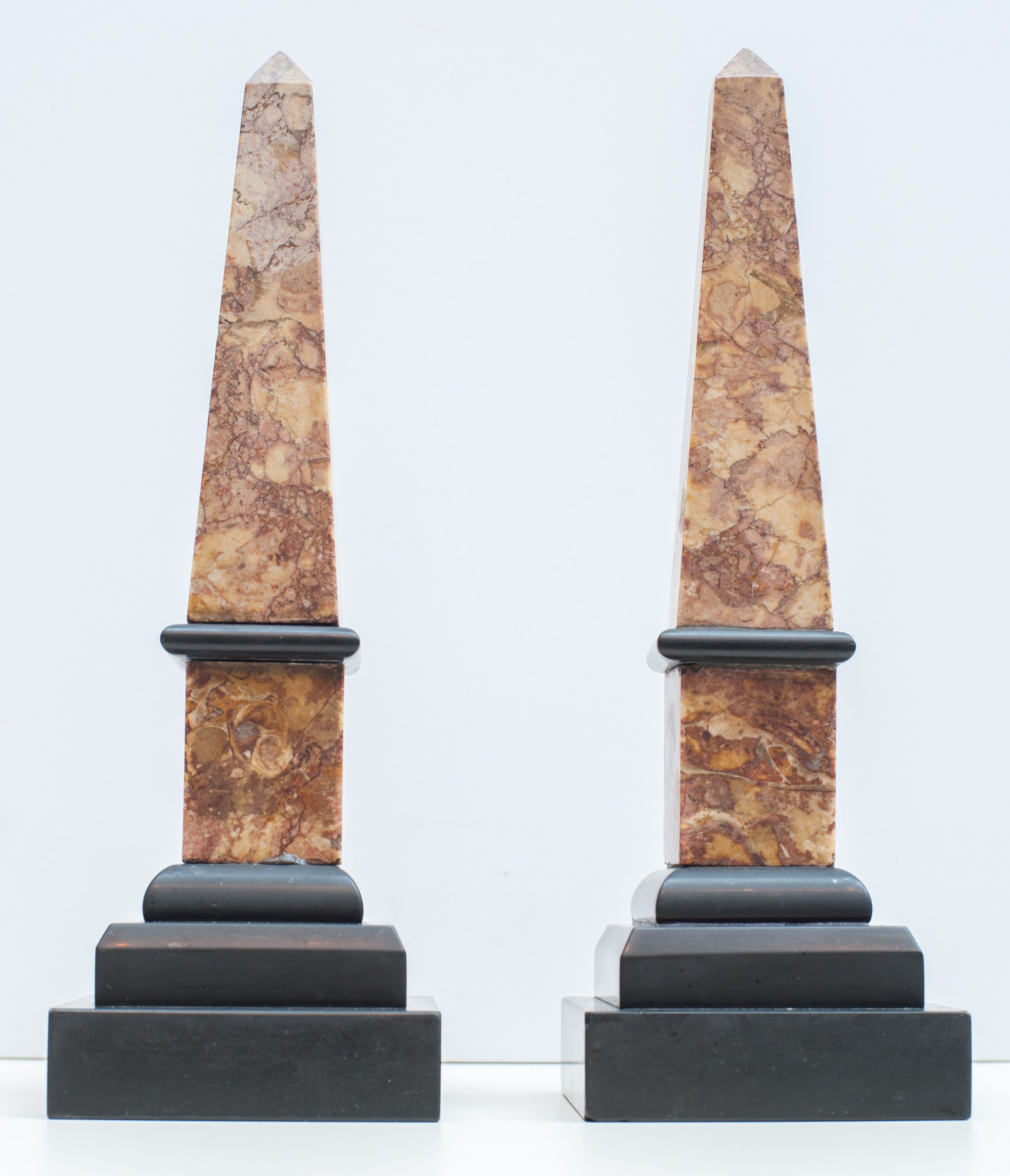 Pair Antique Mottled Brown Marble Obelisks With Tri Level Black Marble Base H 12 5 4 Sq Italy 19th Century Obelisk Antiques Architecture Fashion