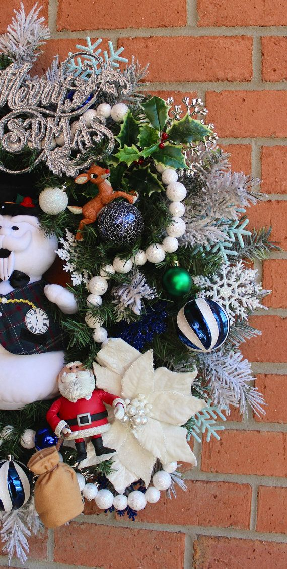 Sam the Snowman and Rudolph Christmas Wreath by IrishGirlsWreaths