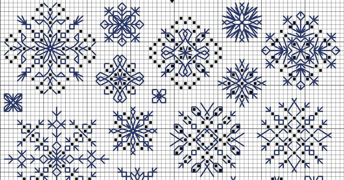 Snowflakes free cross-stitch pattern in symbols | Elde nakış ...