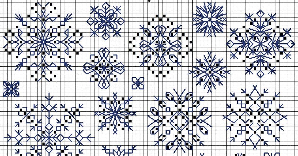 Snowflakes free cross-stitch pattern in symbols | Handmade ...