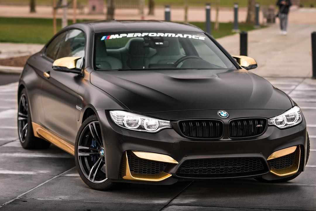 Bmw F82 M4 Matte Black With Gold Trim Bmw Black Bmw Audi Cars