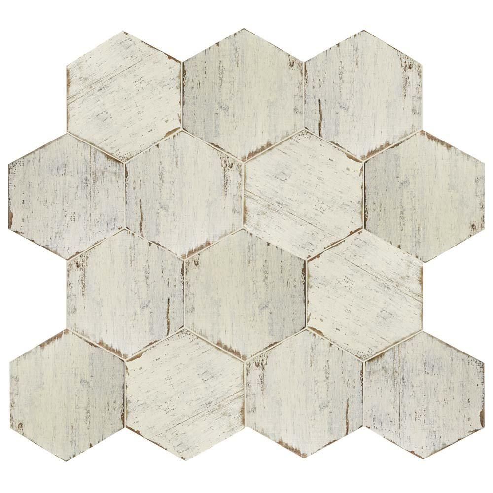 Merola Tile Retro Hex Blanc 14 1 8 In X 16 1 4 In Porcelain Floor And Wall Tile 11 05 Sq Ft Case Fnurtxbl The Home Depot Porcelain Flooring Wall Tiles Wood Look Tile