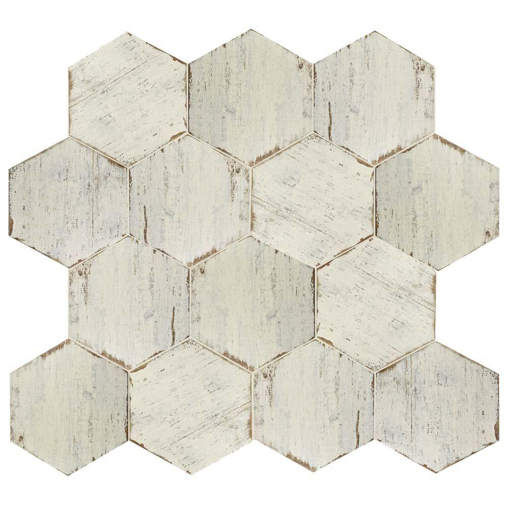 Merola Tile Retro Hex Blanc 14 1 8 In X 16 1 4 In Porcelain Floor And Wall Tile 10 76 Sq Ft Case Fnurtxbl Porcelain Flooring Wall Tiles Wood Look Tile