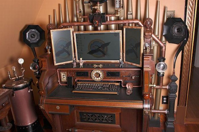Steampunk Computer and modified organ desk.    Look at the webcam.  Blew my mind.