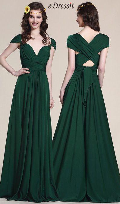 Convertible Dark Green Bridesmaid Dress Evening Gown (07154704 ...