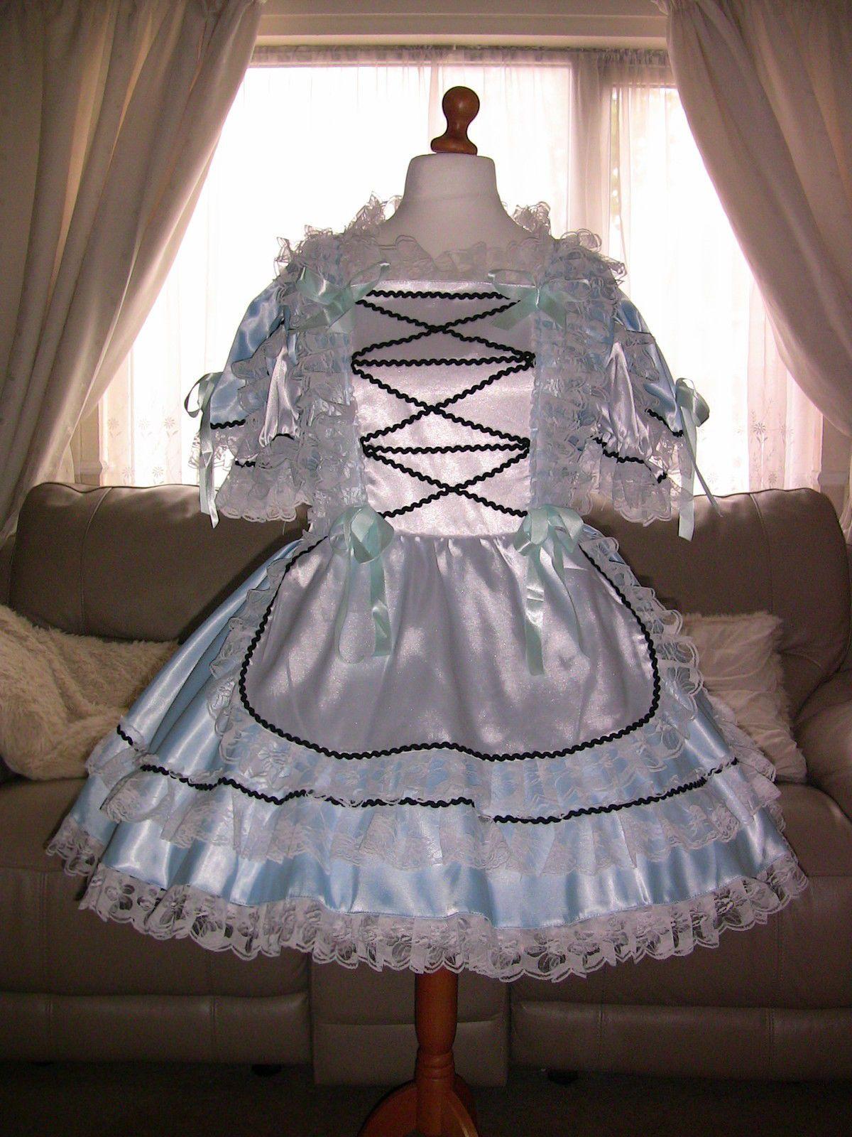 White apron maid - Amazing Blue Satin Adult Sissy Maids Dress With White Apron Size Xxl Ebay