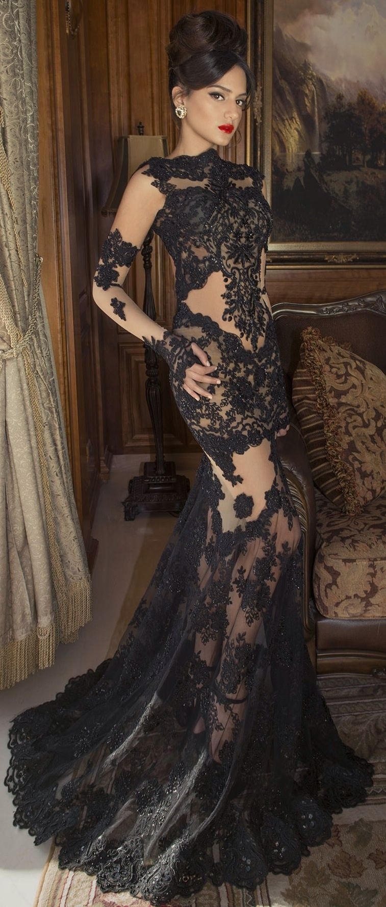 2015 Sexy Long Sleeve Black Lace Tulle Skirt Evening Party Prom ...