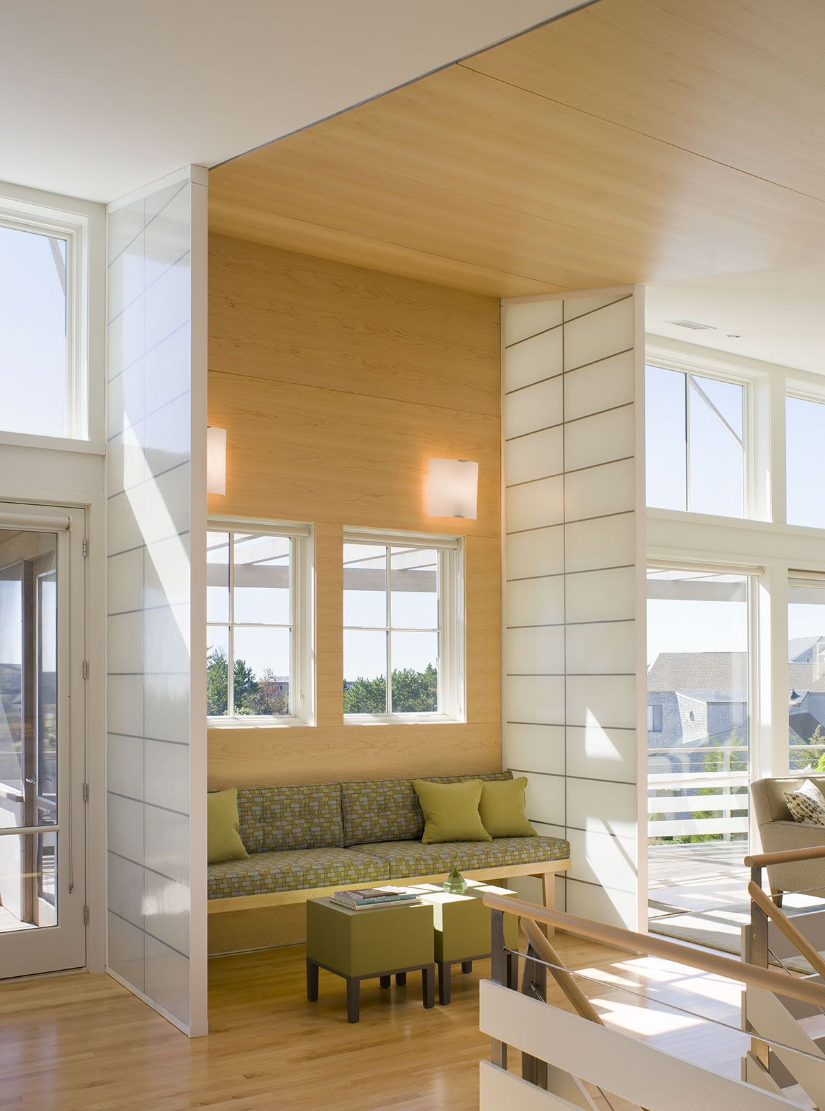 Modern Cape Cod living room with wood