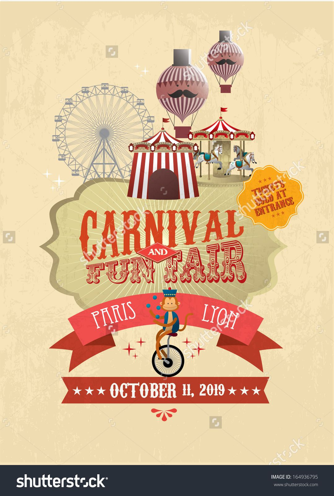 Vintage Carnival/fun Fair/ Fairground/circus Poster Template  Vector/illustration   Buy This Stock Vector On Shutterstock U0026 Find Other  Images.  Fun Poster Templates
