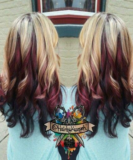 Blonde Burgundy Black Multi Tone Dyed Hair Inspiration