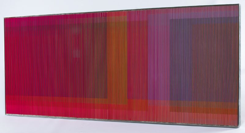 """Carlos Cruz-Diez, """"Physichromie no. 511"""" extruded PVC, Casein (Plaka), and acrylic inserts mounted on plywood with an aluminum strip frame. Frame: 40""""H x 95.25""""W. Signed, titled and dated 1970 on the reverse. Sold for $519,000.00."""