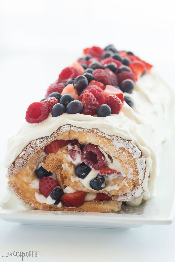 Berry Angel Food Cake Roll (red, white and blue de