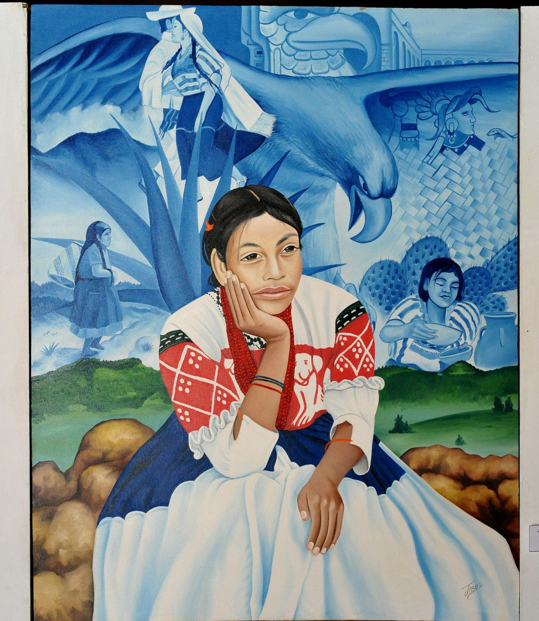 https://flic.kr/p/vSGcMa | Painting Mixtec Woman Oaxaca | Lovely painting of a young Mixtec woman from San Pablo Tijaltepec, Oaxaca, Mexico by Mixtec artist Josue Lopez of Chalcatongo, Oaxaca.  Exhibited at the Museo Estatal de Arte Popular Oaxaqueno