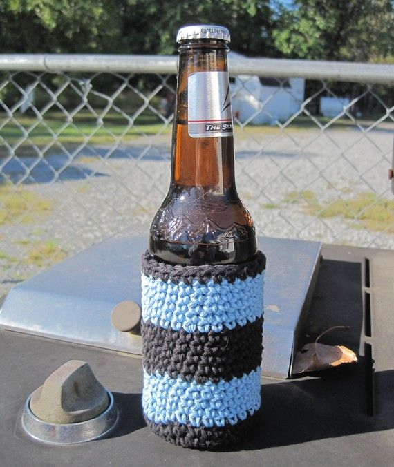 Striped Beer Bottle Cozy by HandmadeBySandi on Etsy, $6.95
