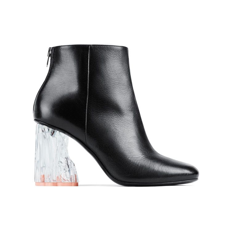 #AcneStudios #PreFall2016 Ora glass black are ankle boots with sculptural transparent heels inspired by compressed objects