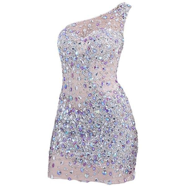 VILAVI Women's Sheath One Shoulder Short Tulle Crystal Prom Dresses ($220) ❤ liked on Polyvore featuring dresses, vestidos, short dresses, short mini dress, prom dresses, sheath cocktail dress, short cocktail prom dresses and mini dress