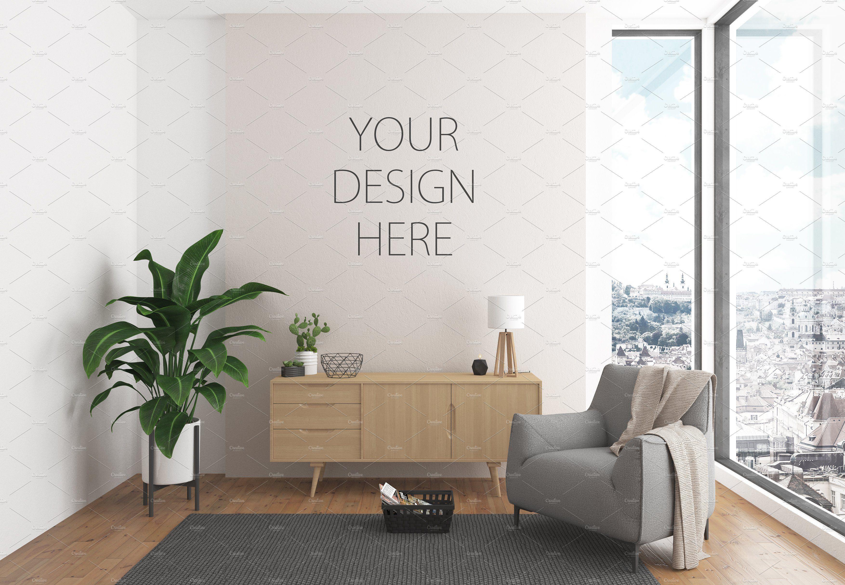 Interior Mockup Wall Art Background Scandinavian Design Desk Interior Living Room Lounge