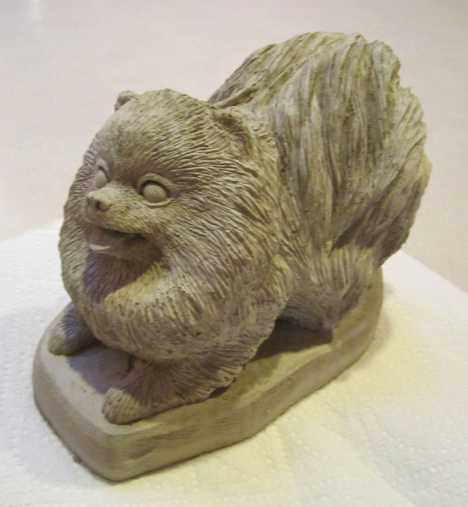 Solid Concrete Pomeranian Dog Statue Or Use As A Monument Memorial