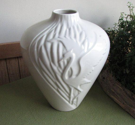 Vintage Haeger Pottery Heron Vase Art Deco Cream Colored Vase Art Deco Vases Colored Vases Pottery Art