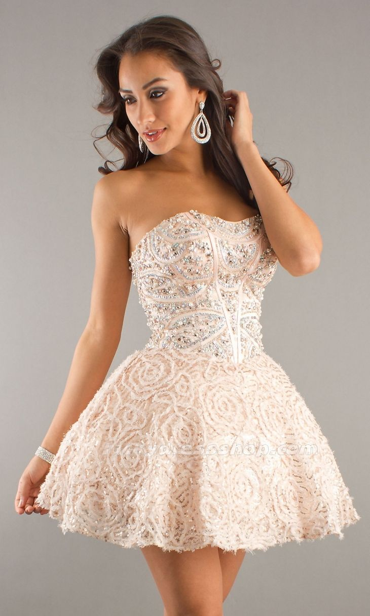 sexy ivory ball gown strapless short mini natural cocktail dress ...