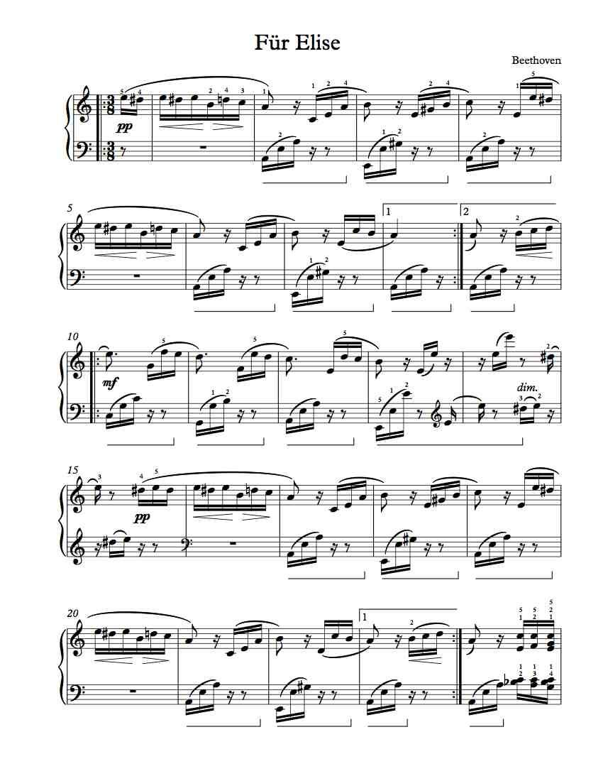 Free Piano Sheet Music Fur Elise By Beethoven Piano Sheet