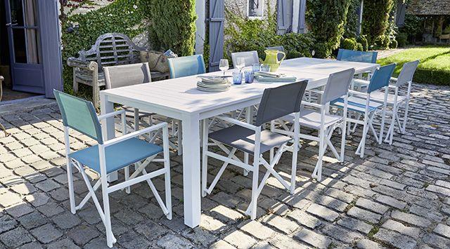 Table de jardin en aluminium Batang 184/243 x 100 cm blanc ...