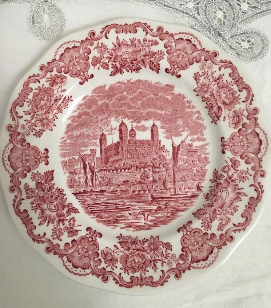 ROYAL HOMES OF BRITAIN UNICORN TABLEWARE 7 3/4  SIDE PLATE (RED) & Royal homes of britain unicorn tableware 7 3/4