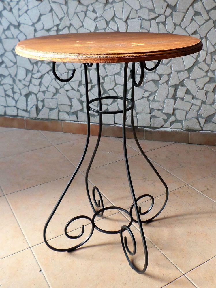 Tavolo tavolino in ferro battuto e legno da salotto soggiorno ...