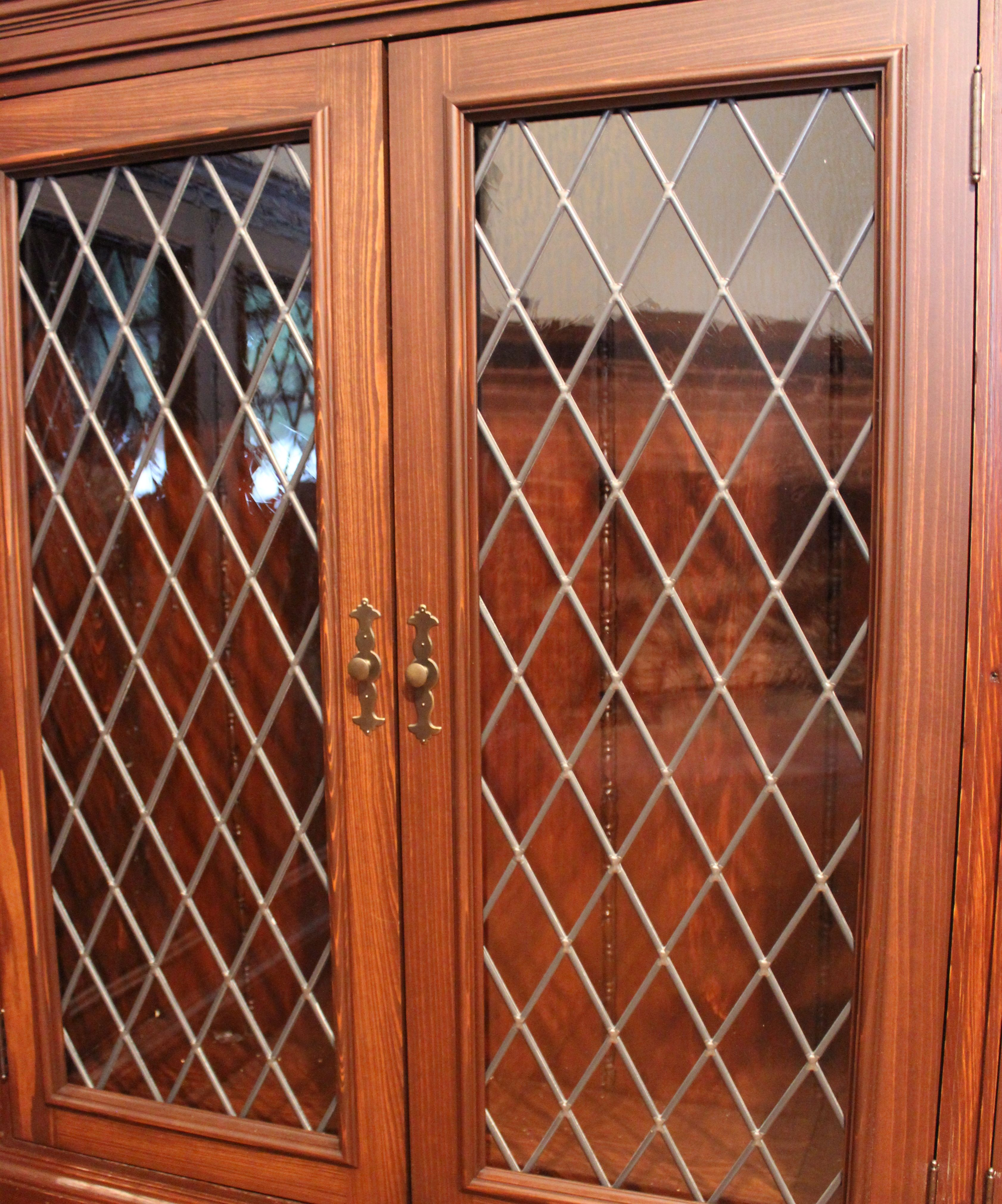 Custom Made Cypress Wood Cabinet Doors With Leaded Glass