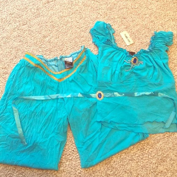 Disney Jasmine Halloween costume {NEW w/ tag} Complete Halloween costume with pants, shirt, and headband. Small mark on headband that came with purchase, but no other problems. Hot Topic Tops Crop Tops