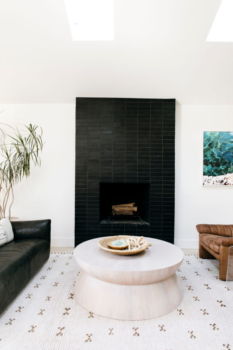 Black Brick Fireplace For Mid Century Modern Home Fireclay Tile In 2020 Black Brick Fireplace Modern Living Room Black Mid Century Modern House