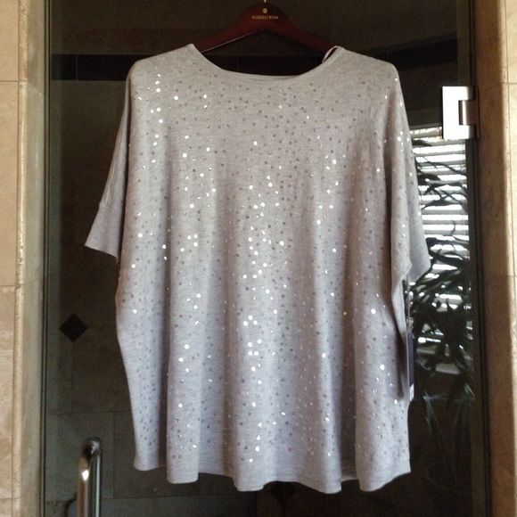 Sale! Gray Sequin Sweater Top New with tags Jennifer Lopez Sweaters