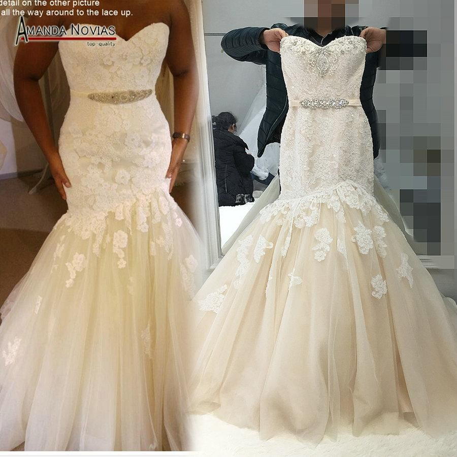 25 Best Ideas About Champagne Colored Wedding Dresses On: 2018 Champagne With Ivory Color Wedding Dress Mermaid Real
