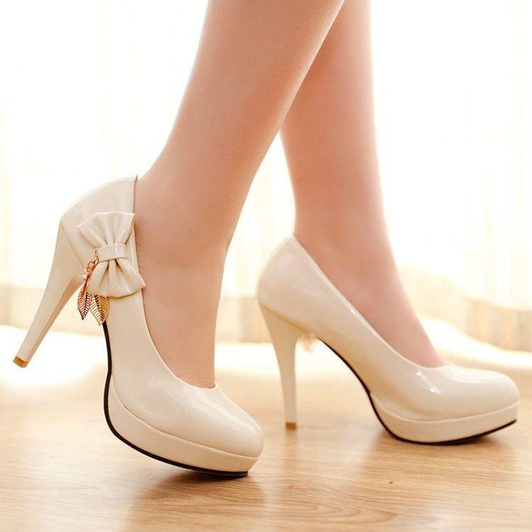 f31243ac9b3 Patent Leather Women Pumps Platform Bowtie Tassel High Heels Spike Shoes  Woman