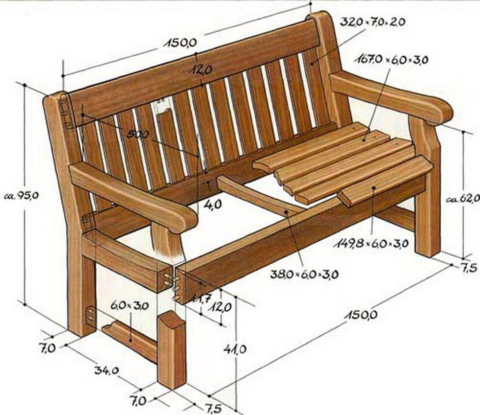 Как сделать деревянную скамейку: фото, чертежи 81
