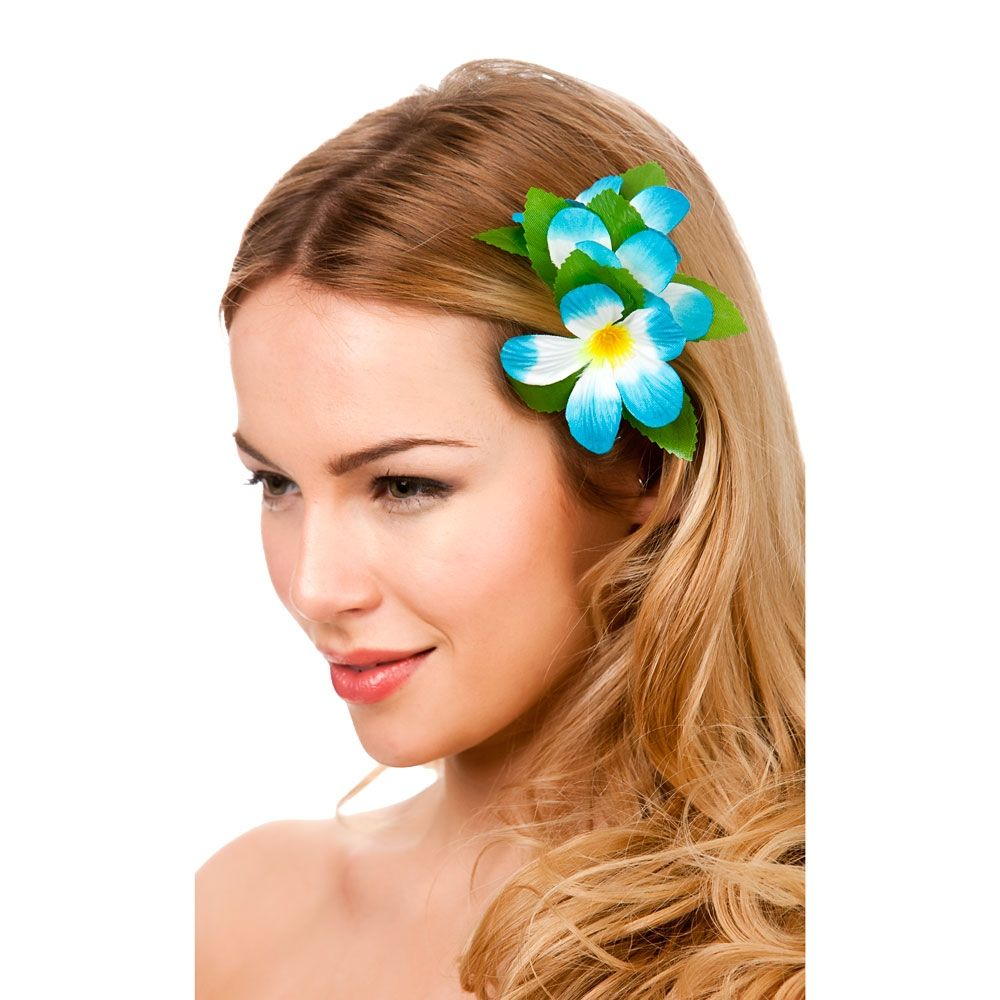 Hawaii flower hair clip sky blue funny fancy dress costumes hawaii flower hair clip sky blue izmirmasajfo Image collections