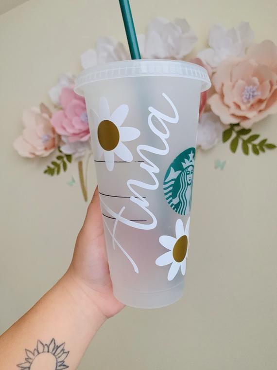 Custom Daisy Starbucks Cup