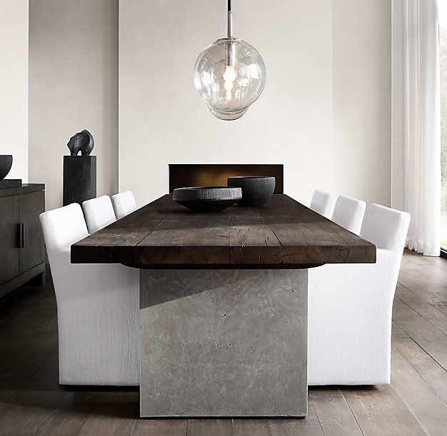 Rh Modern S Concrete Pier Rectangular Dining Table Postmodern Design On A Large Scale Ou Rectangular Dining Table Concrete Dining Table Concrete Dinning Table Modern concrete dining room design