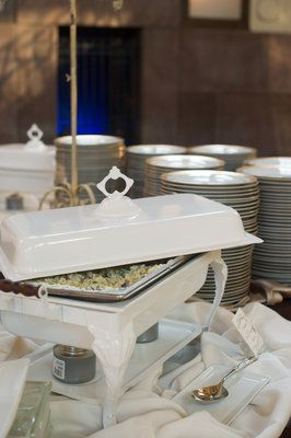 A unique chafer can add a great touch of detail and elegance to a buffet line. By Brancato's Catering, Kansas City