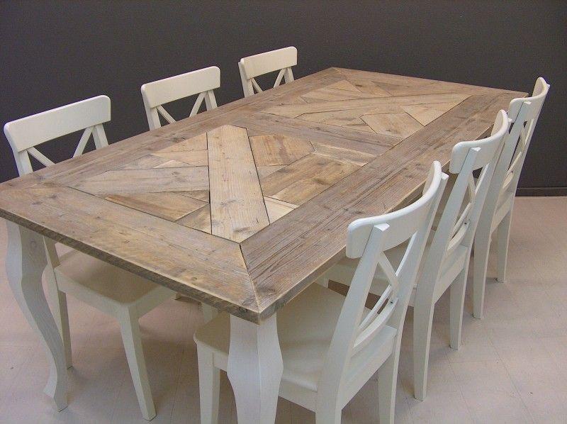 Tafel queen anne mozaiek blad steigerhout met wit onderstel 23112013 tafels van steigerhout - Tafel eetkamer hout wit ...