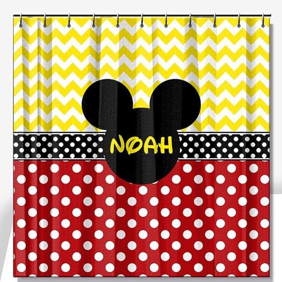 Mouse Ears Personalized Shower Curtain by limerikeedesigns on Etsy, $73.00